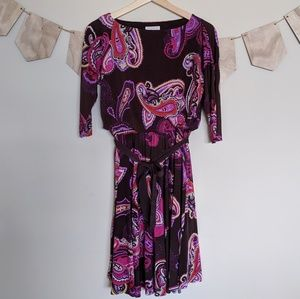 Charter Club Paisley Brown and Pink Dress